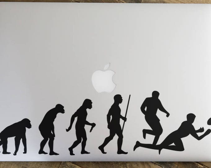 Man Evolution to Rugby Decal Sticker, American Football,  Rugby Football Union, RFU, World CUP, mac, Macbook Decal Sticker