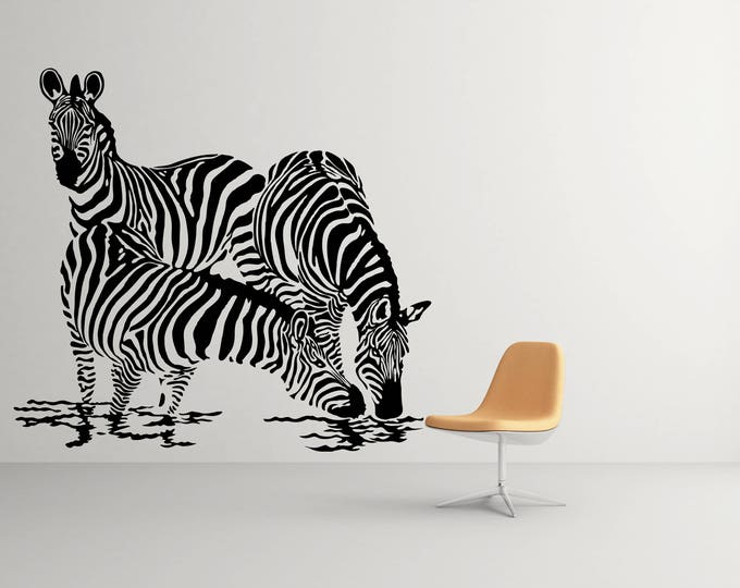 Three Zebras Drinking Water Silhouettes -  African Animals Wall Decal / Stickers, Jungle Wild Nature African Equids Africa