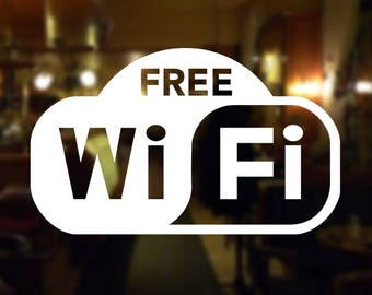 Free Wifi vinyl sign decal /sticker for walls Windows or any surface it might stick with, FREE WIFI SIGN for store windows walls etc
