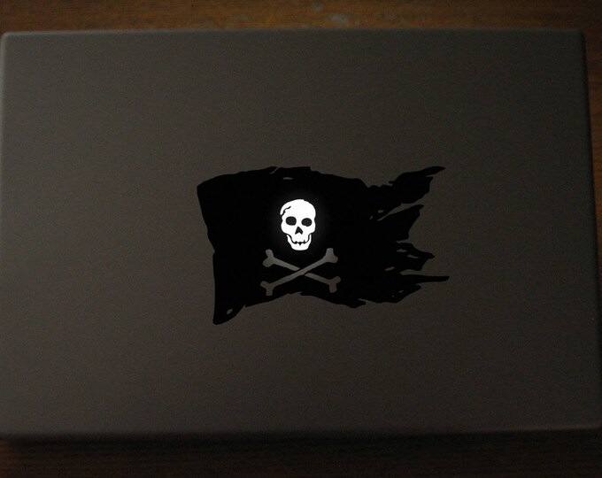 Pirate Flag Decal Sticker, Laptop Skin, Luminous Skull, Crossed Bones, Skull and Bones, mac, Macbook Decal Sticker