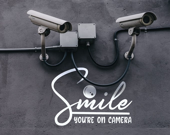 Smile You are on Camera - Close Circuit TV, Surveillance Wall Decal, Call to Action, One Nation Under CCTV, Big Brother is Watching you