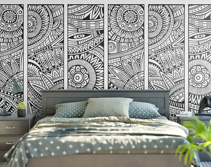 Three Parts Tribal Floral Wall Decal, Tribal Style, Decals, Bedroom and Living room decor, Wall Tattoo, Flower, Silhouettes, Interior Design