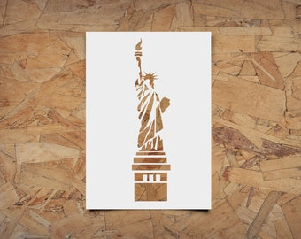 Statue of Liberty Stencil - Reusable, 220 microns - Ideal for spray paint, Aerograph design, AirBrush templates - Durable Laser Cut Template