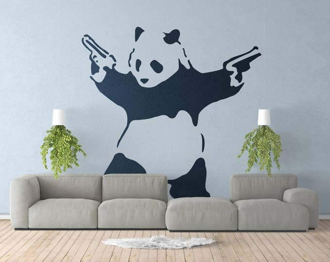 Banksy, Armed Panda, Wall Decal, Sticker, Urban art, Artist, graffiti, stencil, urban walls, wallart, spray, Wall Art, Panda with guns