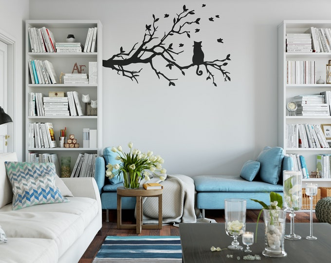 Cat in a Tree Branch Wall Decal Sticker, Cat, Curious Cat, Field Cats, Funny, Birds chasing cat, Looking cat, Interior design wall decals