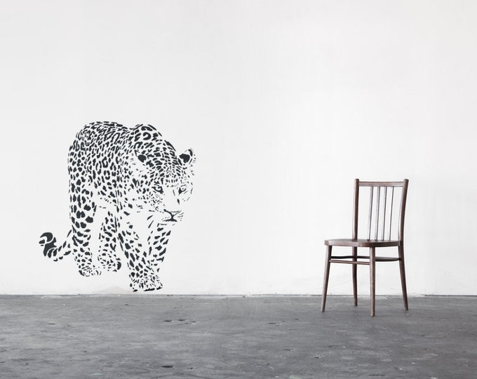 Walking Leopard Wall Decal, Majestic Animals Collection, Big Cat, Bedroom and Living room decor stickers, Wild Predator, Hunter, Powerful