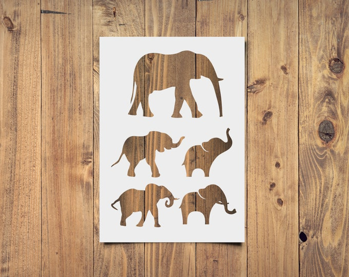 5 Elephant Silhouettes Stencil - Reusable, 220 microns - For spray paint, Aerograph design, AirBrush templates - Durable Laser Cut Template