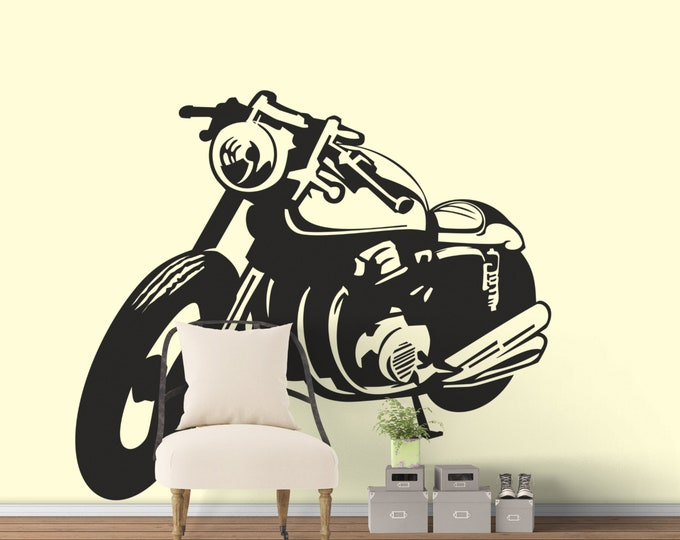 Classic Motorcycle Silhouette - Café Racer - Die Cut Vinyl Sticker / Decal, Wall Decal, Motorsports Bikers Motoclub Riders, Cafe, Racing