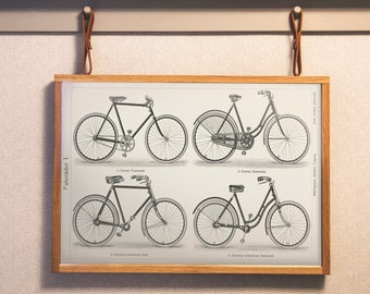 Fahrrader 1 (1894) a black and white lithograph of different types of bicycles - Digitally enhanced from original plate - Quality Print