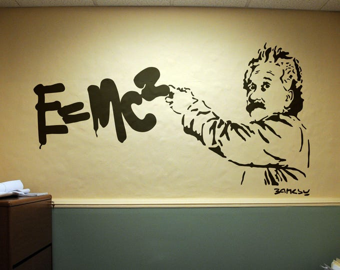 Einstein Theory of Relativity, Wall Decal Sticker, Banksy Style, Urban art, graffiti stencil wallart spray, Art, E=MC2