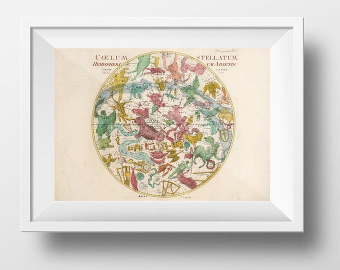 High Quality reproduction of an Old and Rare Pictorial Celestial Map - Coelum Stellatum Hemisphaerium Arietis - Date of 1801 - Johann Elert