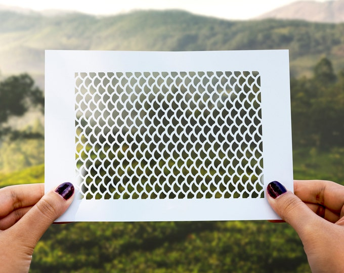Fish Scales Stencil No. 1 - Reusable, 220 microns - Ideal for spray paint, Aerograph design, AirBrush template - Durable Laser Cut Template