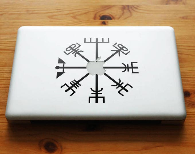 Vegvisir the Viking Compass Apple Decal Sticker, Viking Bjork Aegishjalmur, mac, Macbook Decal Sticker