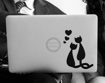 Set of 2 units of Love Happens - Two black cats in love Decal Sticker, Funny Cat Feline Hearts Valentine Valentines - FREE SHIPPING