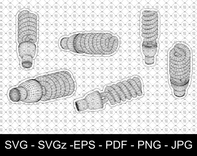 Fluorescent Energy Saving Lamp in Wireframe - True Vectors- Ideal for CNCs & Laser Cutters - 6 poses in eps svg jpg png dpp