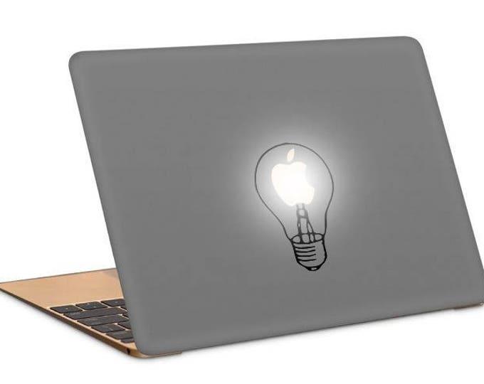 Light bulb lamp Decal Sticker, Apple decal sticker macbook idea vinyl retina macbook pro laptops, mac, Macbook Decal Sticker