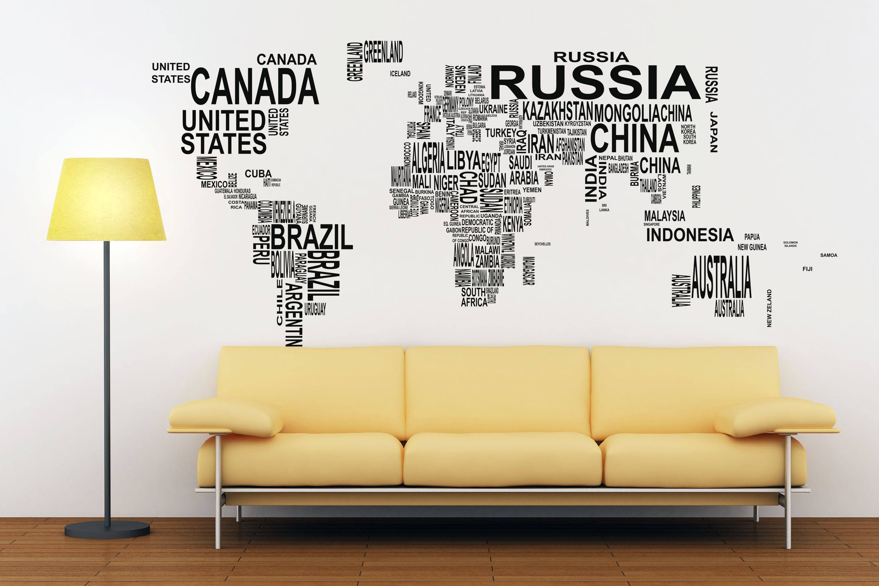 Typography World Map Decals For Home Decor Lettering Usa France