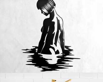 Silhouette of Woman Bathing - Decal Sticker on Vinyl