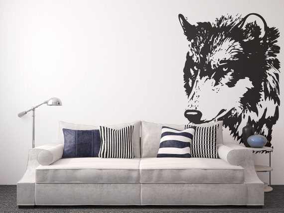 Looking Wolf - Wall decals for magical minds, Many colors and Sizes available, Mystic collection, Looking Wolf Watcher, Big Bad Wolf, Prey