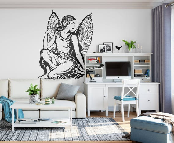 Lady Angel - Classical View of a conceptual Angel - Beautiful classic angel for Wall Decor, Interior Design, Wall Decal, Home Improvement
