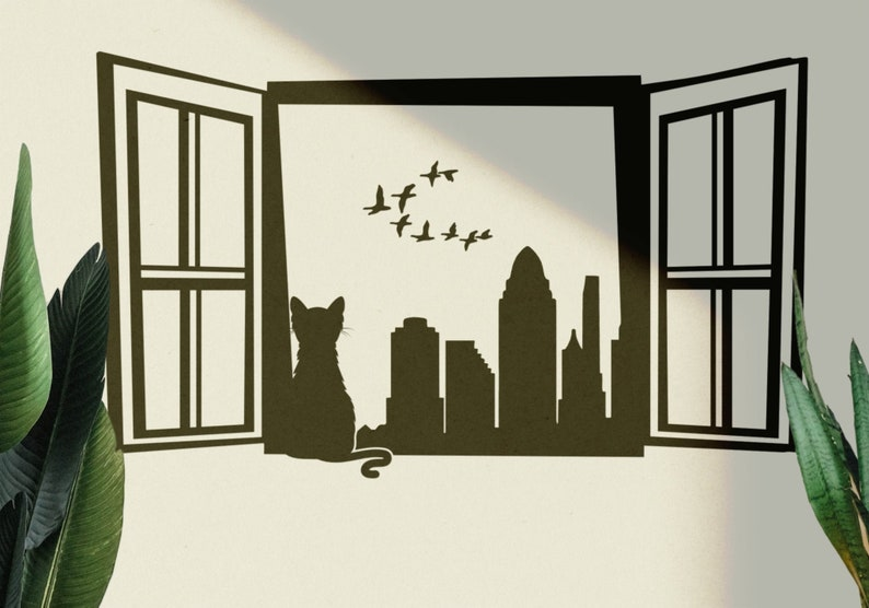 SVG  Cat by the Window looking at birds in a CityScape // eps image 0