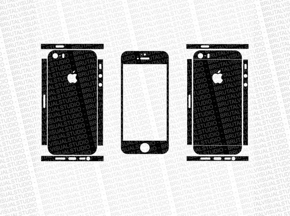 Iphone 5S - Skin Cut Template - Templates for cutting or machining - Digital Download - Plotter, CNC, Lasers - SVG - 2 Back Sliced Versions
