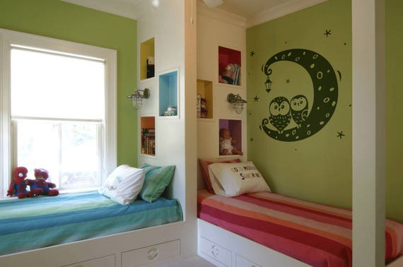 Night Time Bedroom Owls  Wall Decal / Sticker, Wall decor for kids rooms, Children playrooms, Nurseries , Magical Minds Decal Collection