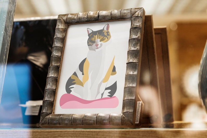 Sleepy Sitting Cat // Digital Painting ready to print out // image 0
