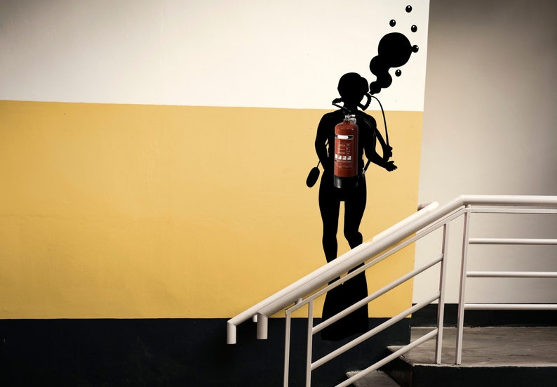 SVG  Fire Extinguisher Scuba Diver silhouette // Vector // image 0