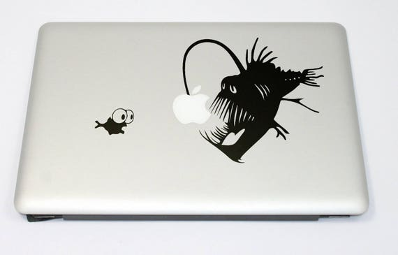 Shrimp and the Angler Fish Decal Sticker, Anglerfishes Anglerfish Lure Ugly Predator Light Deep Sea, mac, Macbook Decal Sticker