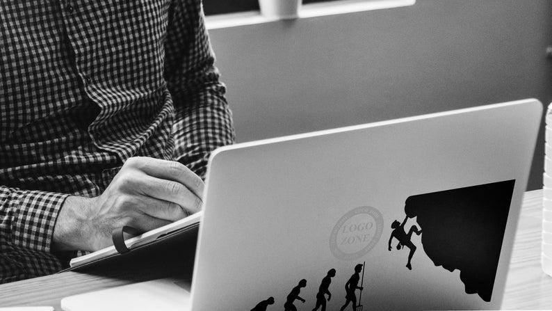 SVG  Man Evolution to Rock Climber // Laptops // Vector // image 0