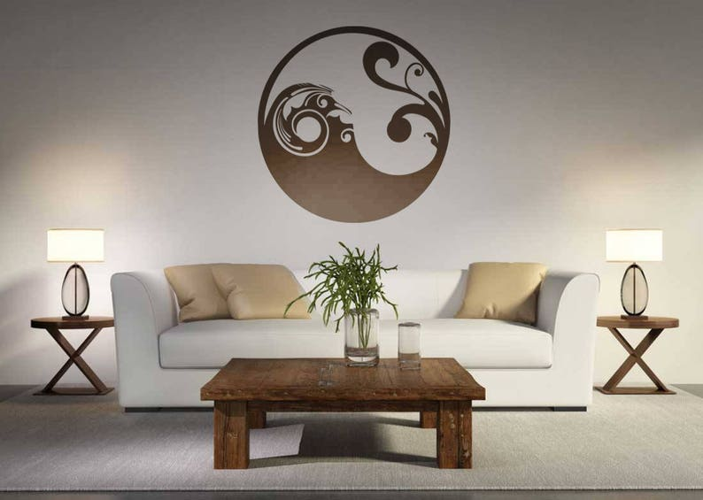 Yin Yang wall decal, Taoism, Vinyl Decal, Sticker, Floral, balance, gift,  ying yang, Daoism, Wall decals, Interior Design Home Decor