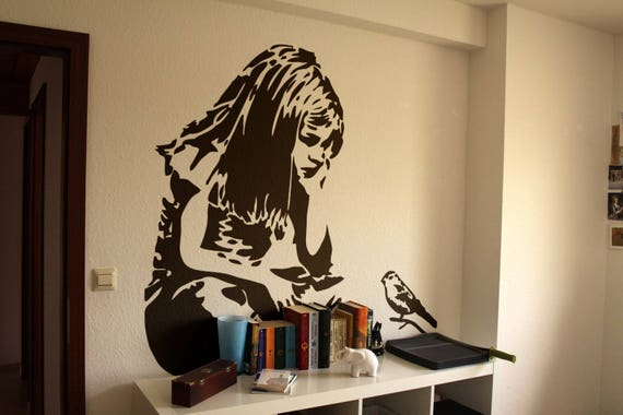 The Little Girl and the Blue Bird, Wall Decal Sticker, Banksy Style, Urban art, Artist graffiti stencil walls wallart spray, Wall Art