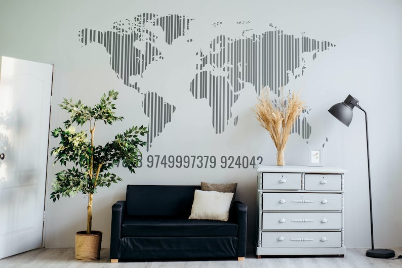 SVG  World Map in Barcode // Vector // Universally Compatible image 0
