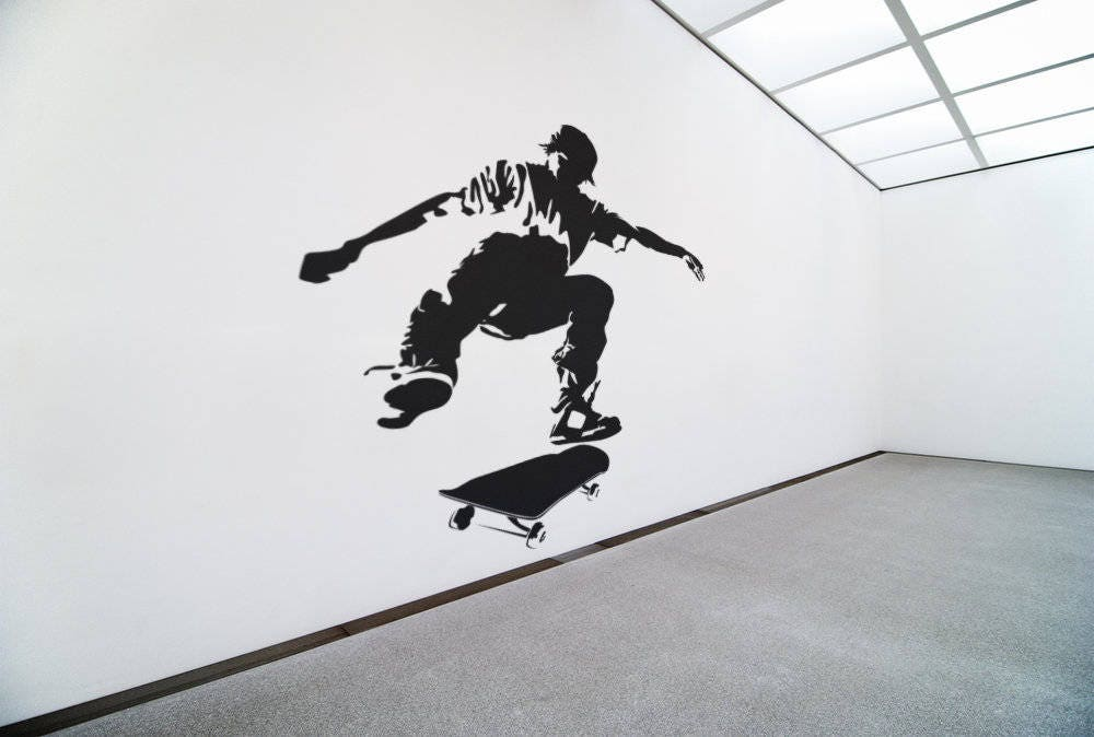 a5c4002962c2 Skater wall decal / Sticker in Vinyl, Epic Decals for wall decor, Roller,  Skates, Fearless Audacious Courageous Strong Daring Sports Skate