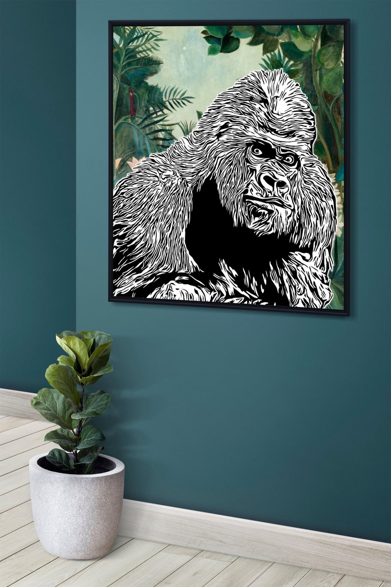 SVG  Looking Gorilla Wall Decal Template // Ready to cut image 0