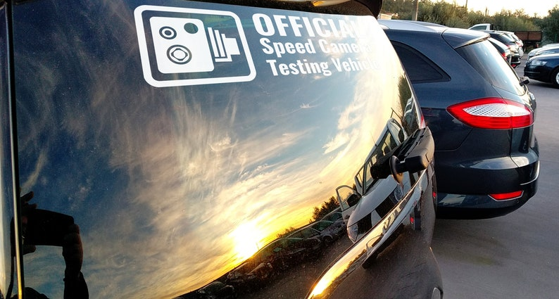 SVG  Official Speed Camera Testing Vehicle // Vector // image 0