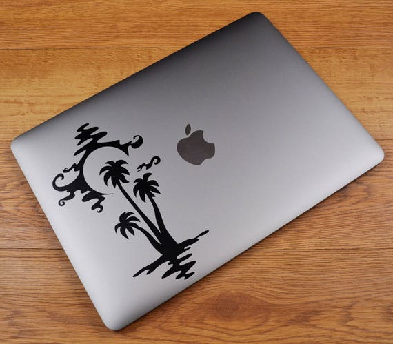SunSet Silhouette by the OceanDecal Sticker, Sunrise Sun Sunsets Sky Water Palm Tree Water Light, mac, Macbook Decal Sticker