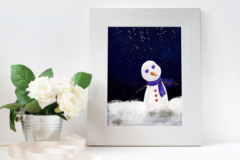 Lonely Snow Man // Digital Painting ready to print out // 300 image 0