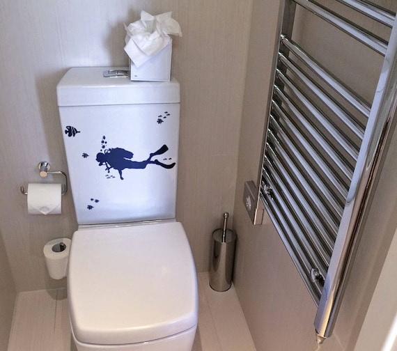 Scuba Diver decal for Toilet Tank Decor - Decal Set, Toilets WC Fun Funny Dive Diver Swimming Scuba Diver Diving Fishes Fish