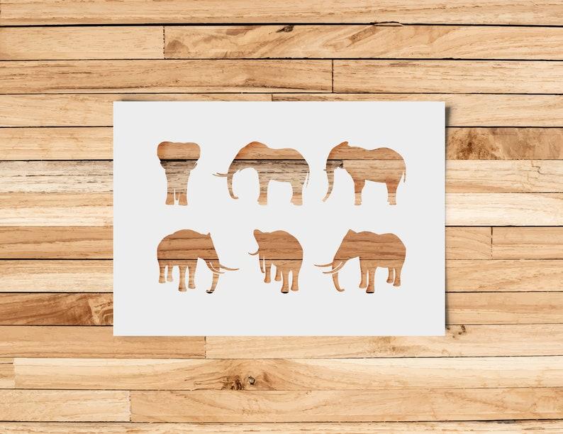 SVG  Elephant Digital Stencil // Cut Files // 6 resizable image 0