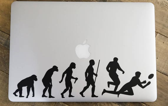 Man Evolution to Rugby Decal Sticker, American Football,  Rugby Football Union, RFU, World CUP, mac, Macbook Decal Sticker