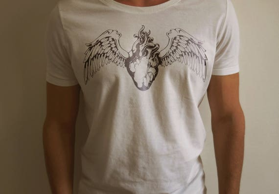 Love Symbol Tshirt with multiple variations, Love Heart Wings Shirt White Tee Shirt Cotton Fruit of the loom casual wear fashion