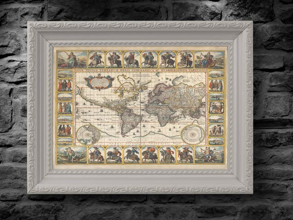 1652 Old, Rare and Vintage World Map by Nicolaes Visscher - Nova Totius Terrarum Orbis geographica ac hydrographica tabula - Replica Print