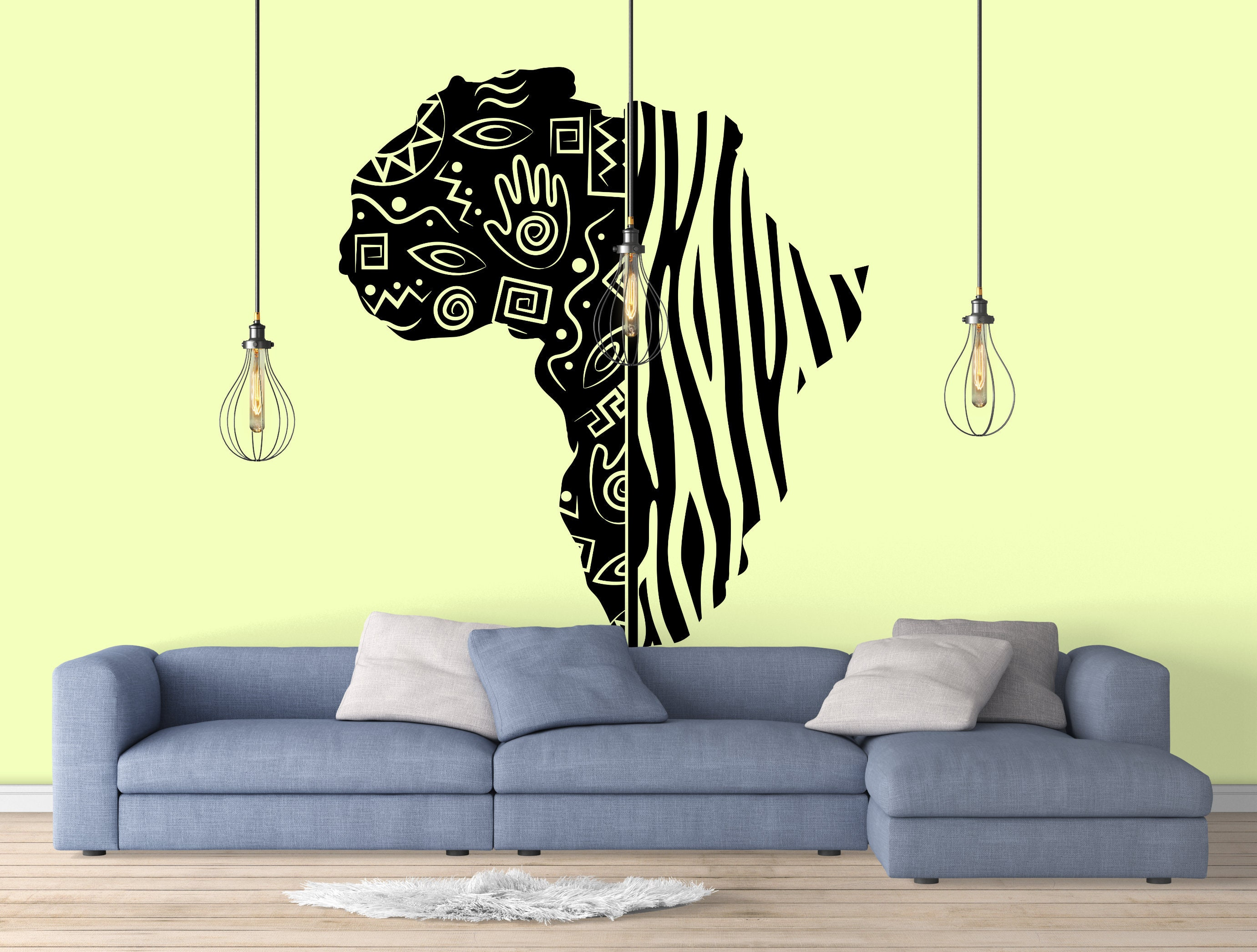 African Continent Wall Decal, Tribal Style Map, Decals, Bedroom and ...