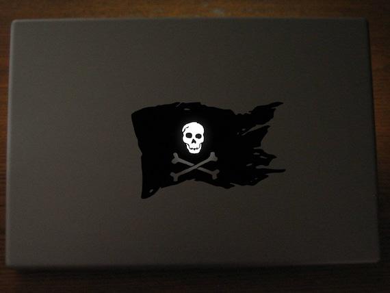 Pirate Flag Decal Sticker, Laptop Skin, Luminous Skull, Crossed Bones, Skull and Bones, mac, Macbook Decal Sticker