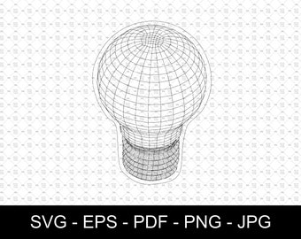 SVG   Wireframe Light Bulb // True vector source // Ideal for CNCs & Laser Cutters // Led lamps // eps pdf psd dxf jpg png bmp