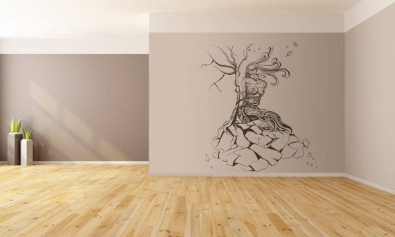 Tied Woman on a dying tree of life wall decal sticker for magical minds, Mystic collection, Wall gift ideas stickers fantasy floral