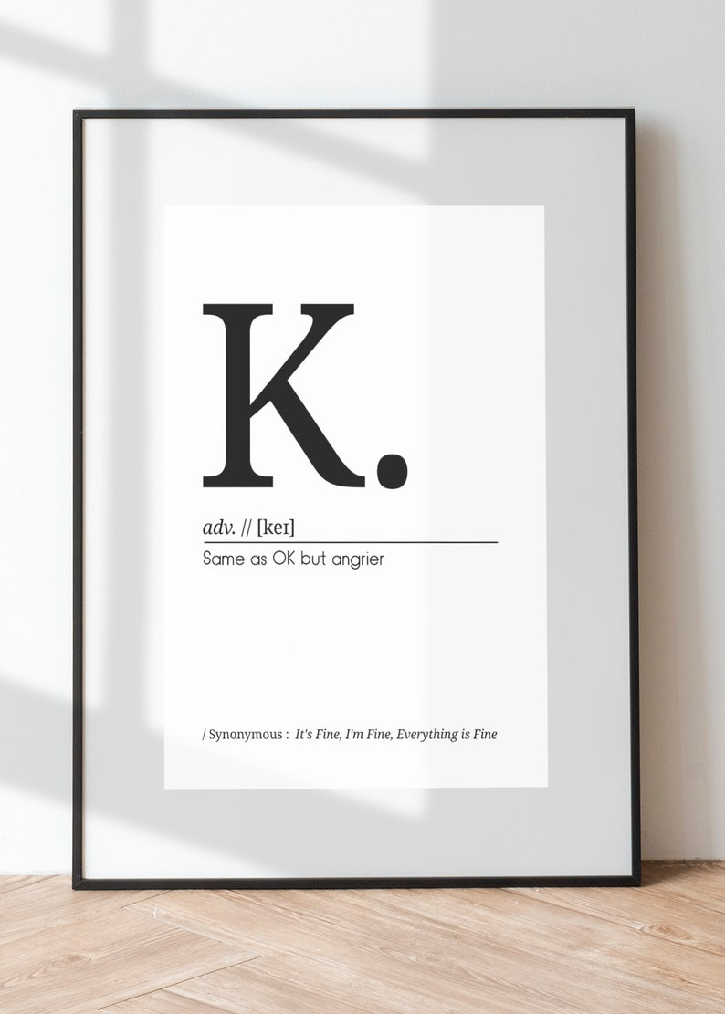 Definition of K // Printable Typography // High Resolution // image 0