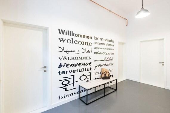 Herzlich Willkommen Sie Aufkleber In Mehreren Sprachen Etsy